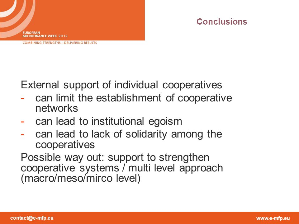 External support of individual cooperatives