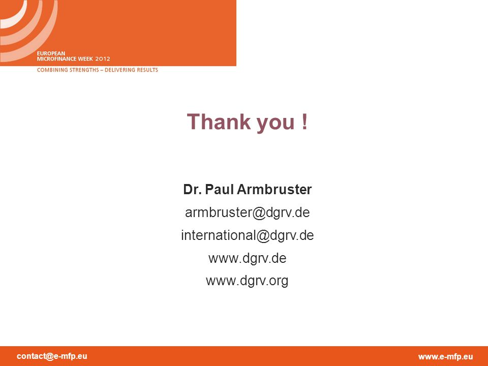 Thank you ! Dr. Paul Armbruster armbruster@dgrv.de