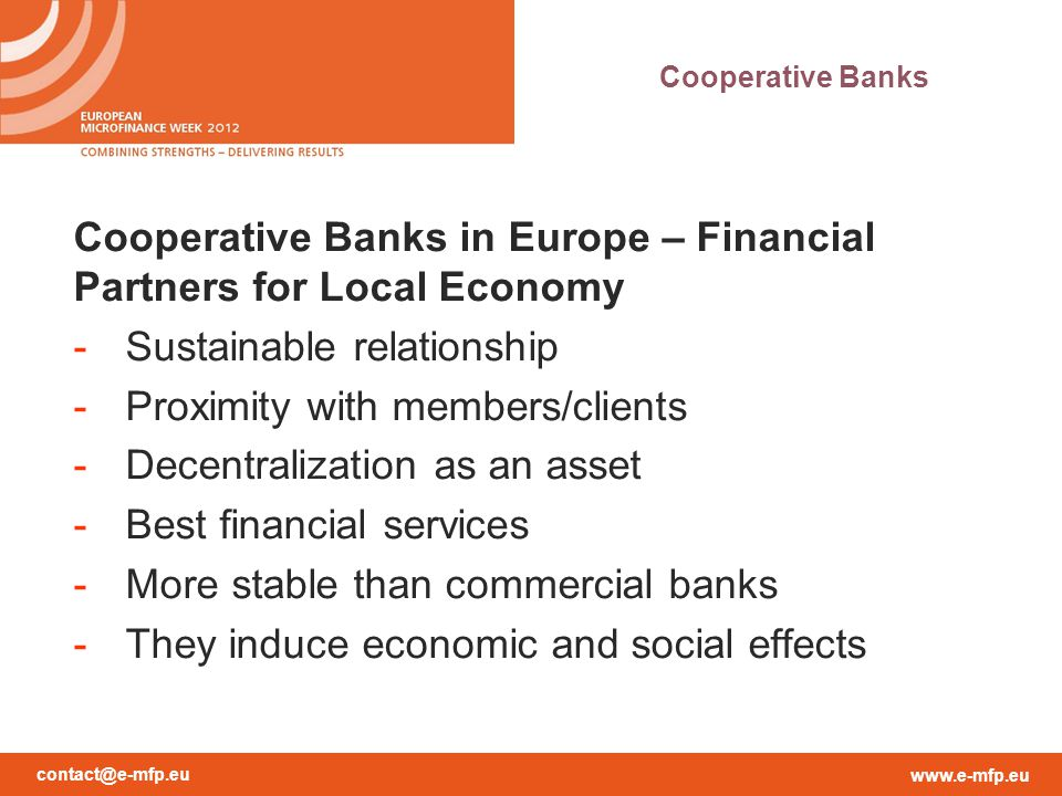 Cooperative Banks in Europe – Financial Partners for Local Economy