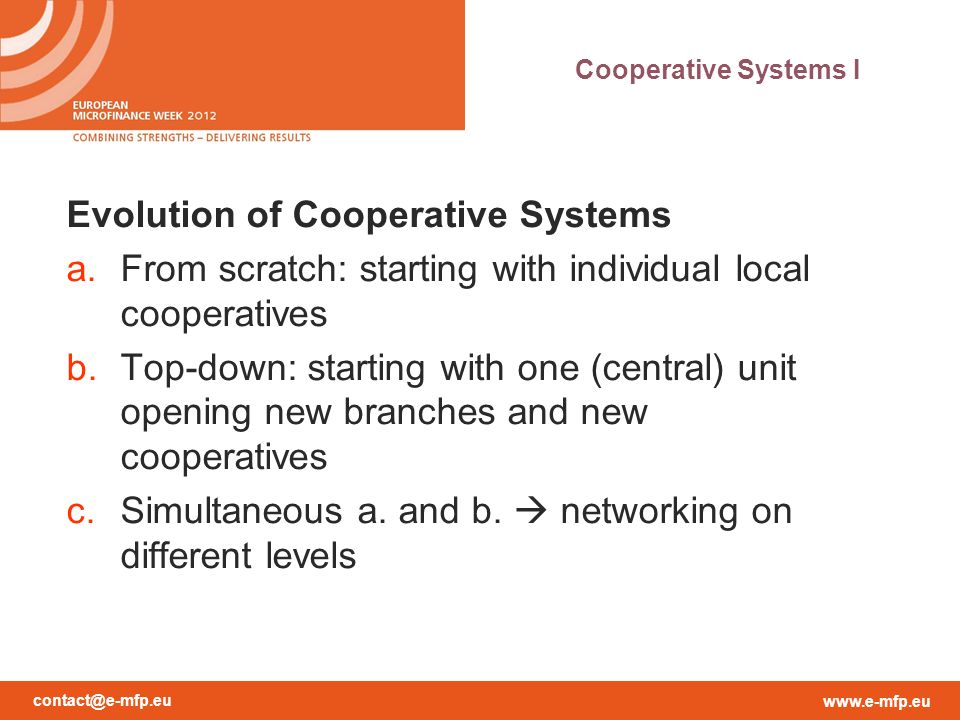 Evolution of Cooperative Systems
