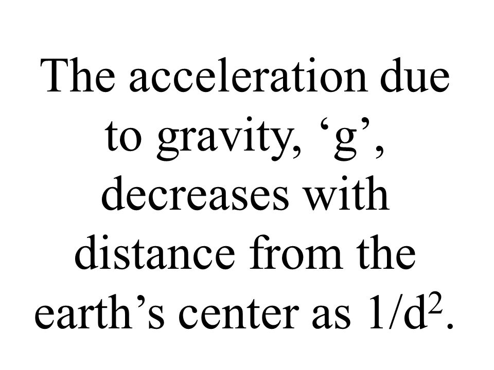 The acceleration due to gravity, 'g', decreases with distance from the earth's center as 1/d2.