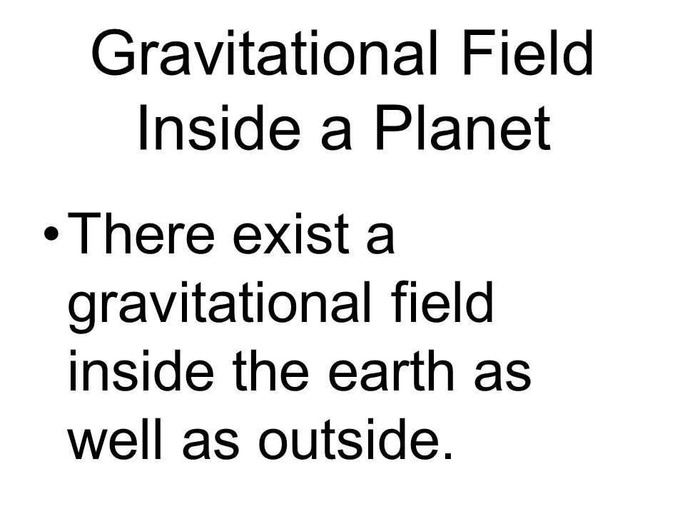 Gravitational Field Inside a Planet