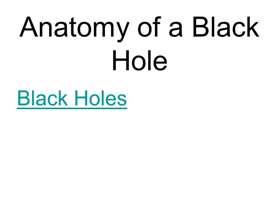 Anatomy of a Black Hole Black Holes