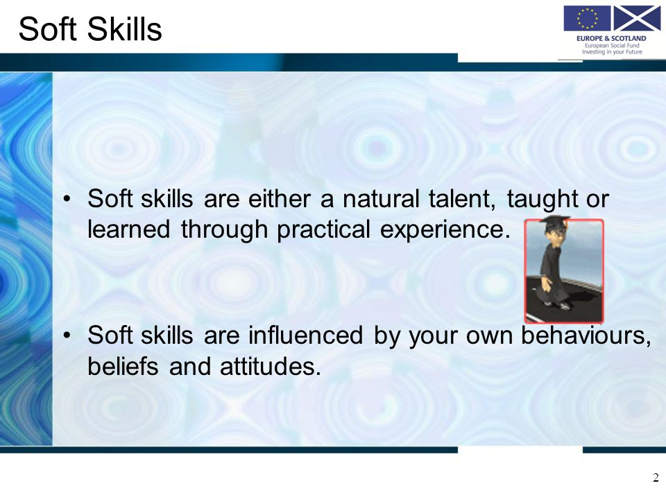 Soft Skills Soft skills are either a natural talent, taught or learned through practical experience.