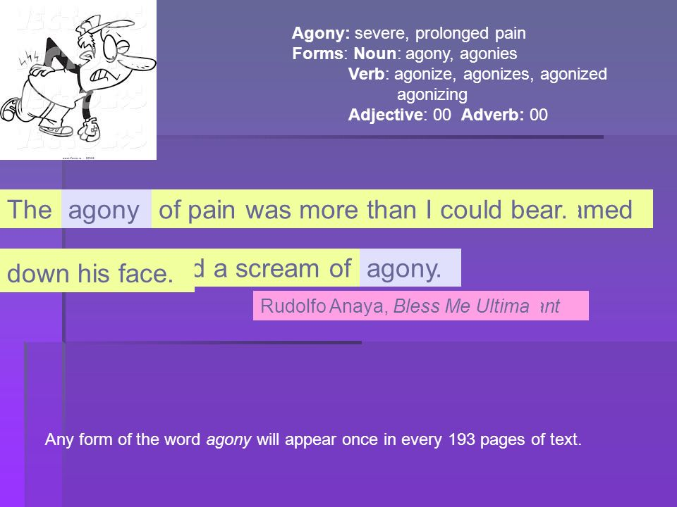 of pain was more than I could bear. The and sweat streamed