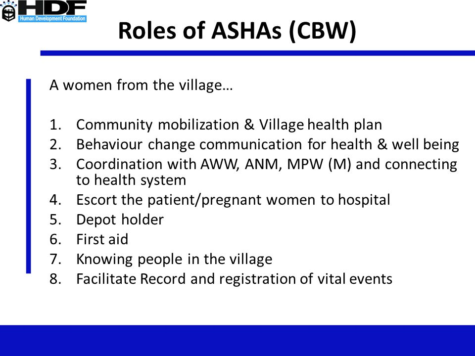 Roles of ASHAs (CBW) A women from the village…
