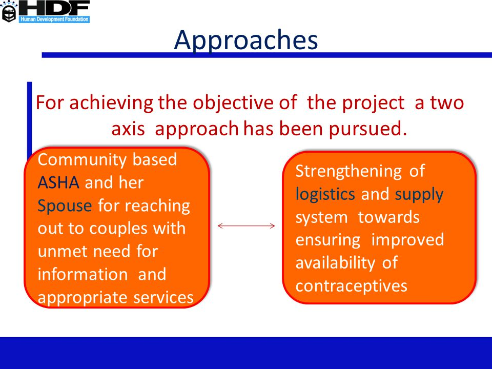 Approaches For achieving the objective of the project a two axis approach has been pursued.
