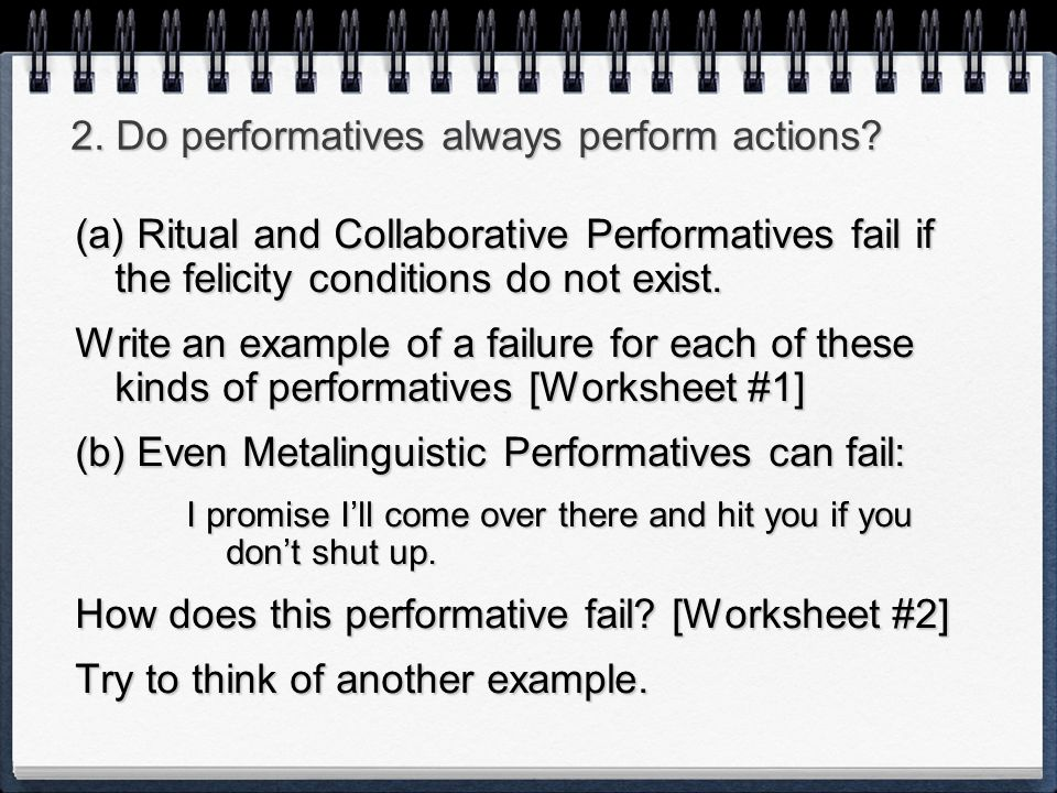 2. Do performatives always perform actions