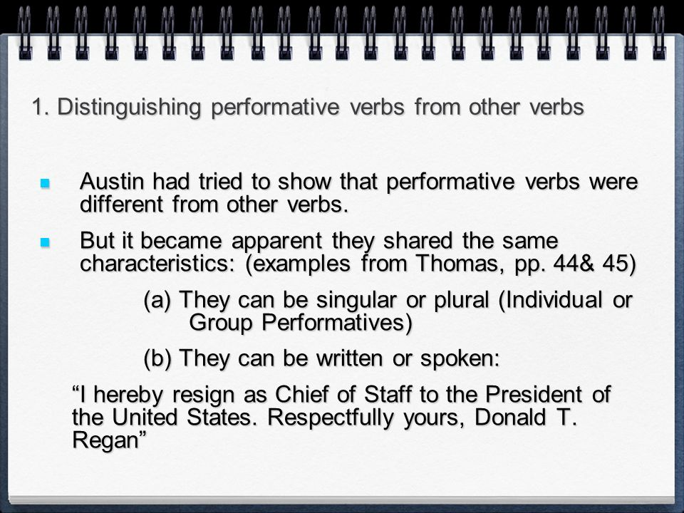 1. Distinguishing performative verbs from other verbs
