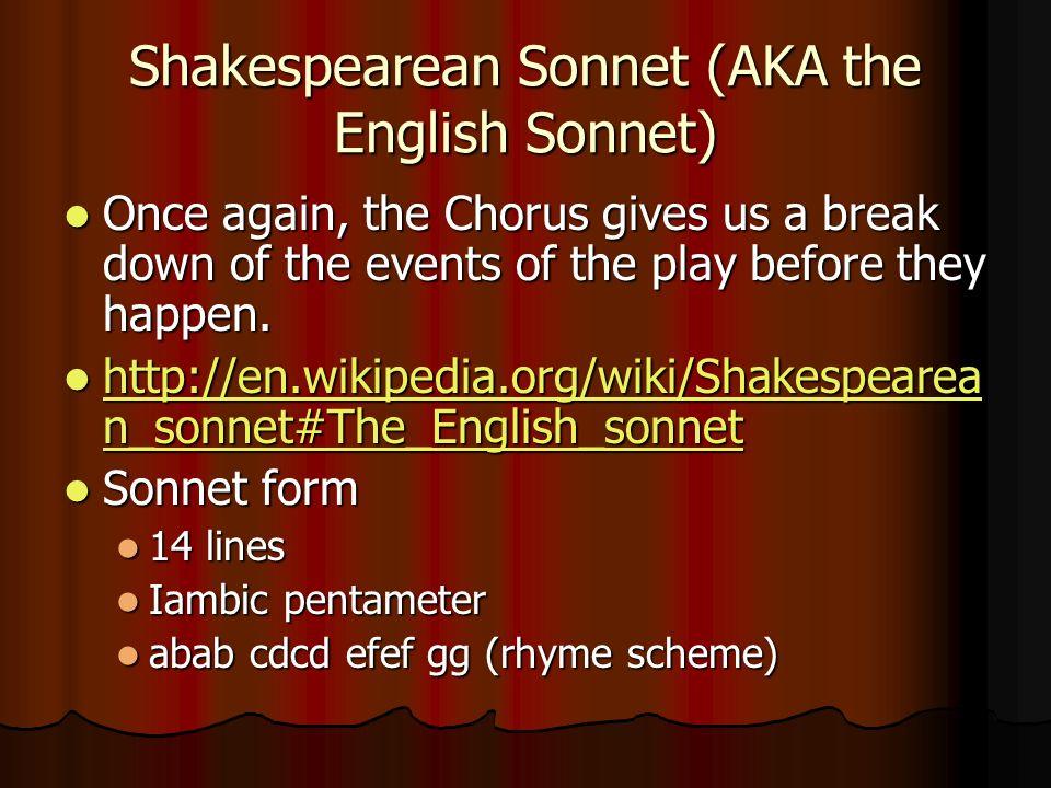 Shakespearean Sonnet (AKA the English Sonnet)
