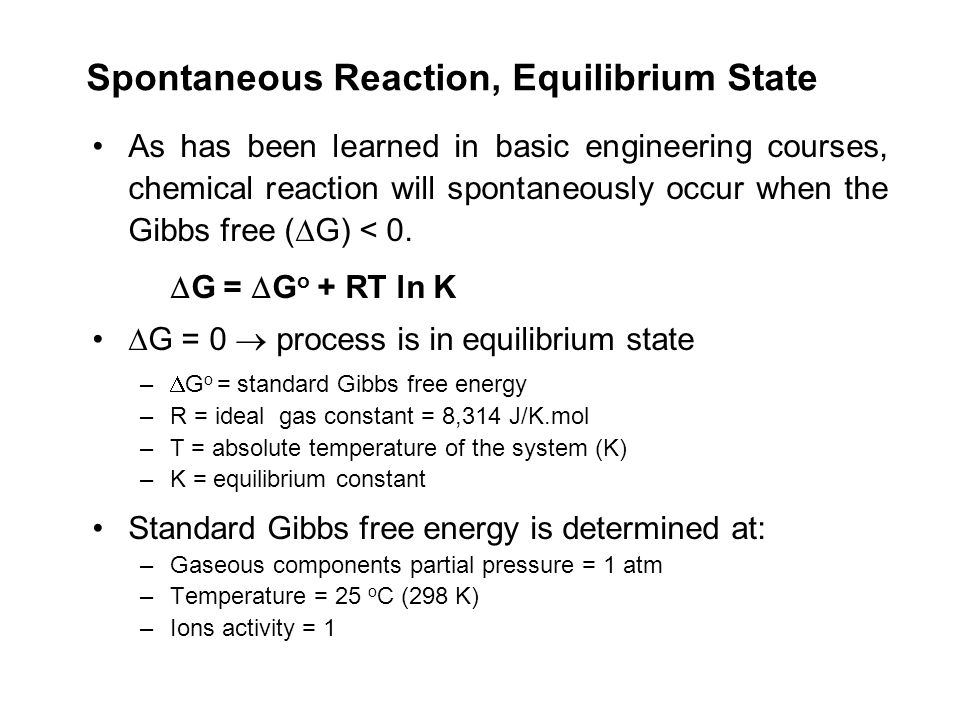 Spontaneous Reaction, Equilibrium State