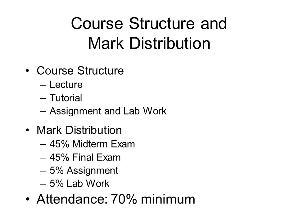 Course Structure and Mark Distribution