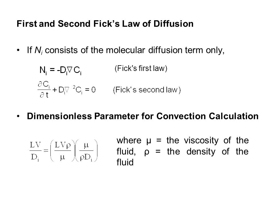 First and Second Fick's Law of Diffusion