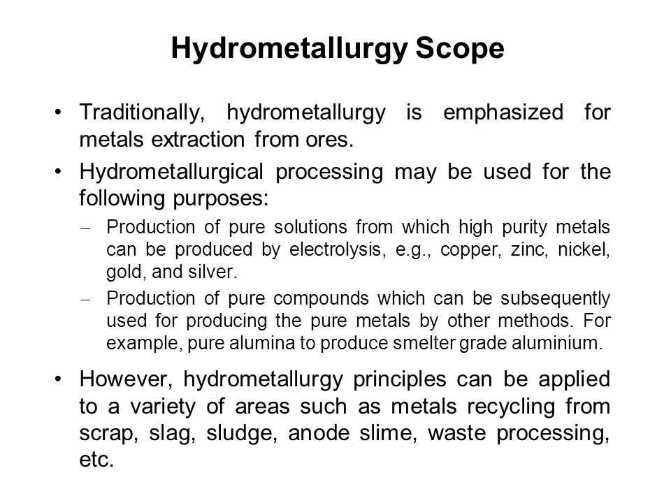 Hydrometallurgy Scope