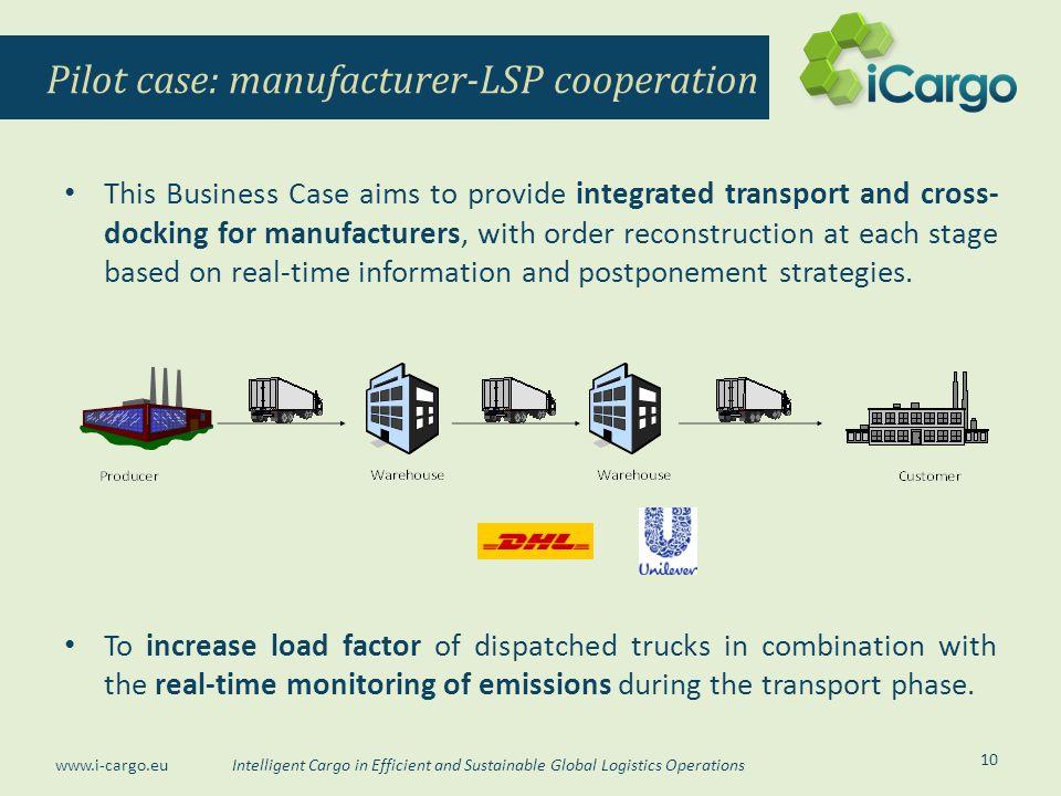 Pilot case: manufacturer-LSP cooperation