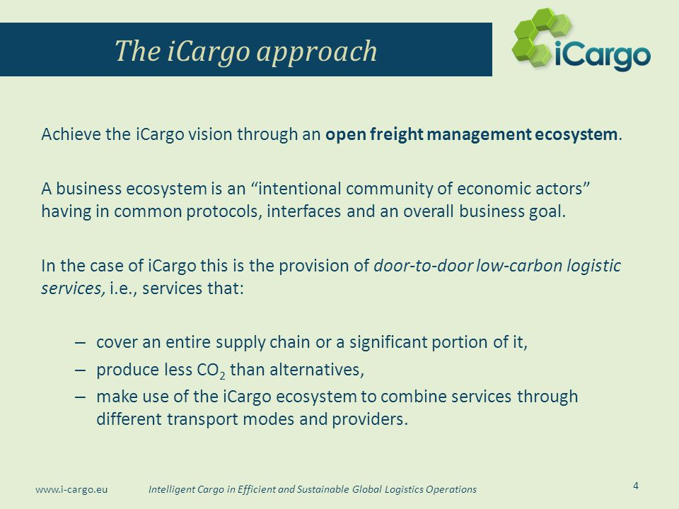 The iCargo approach Achieve the iCargo vision through an open freight management ecosystem.