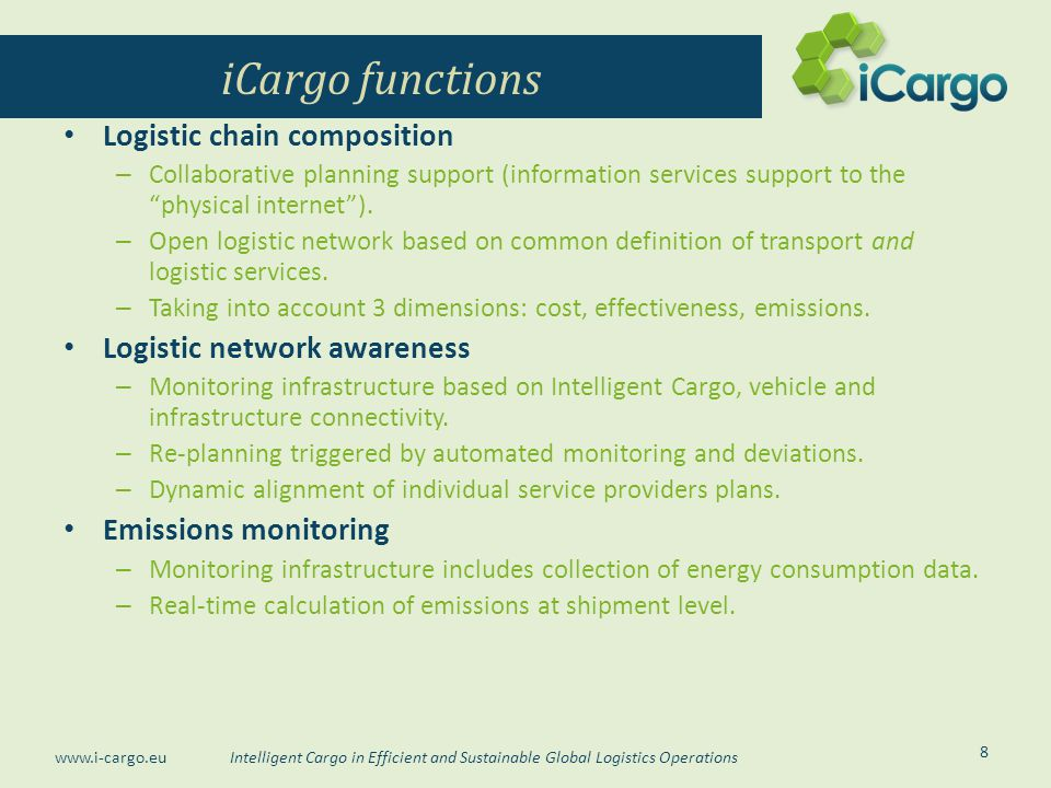 iCargo functions Logistic chain composition Logistic network awareness