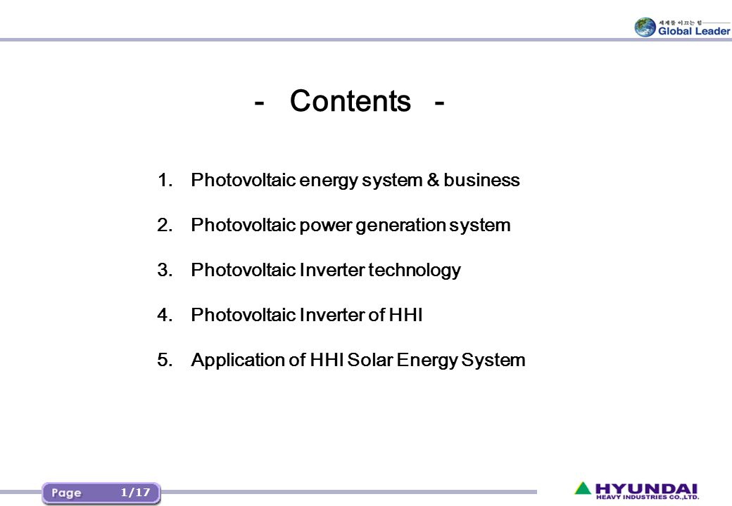 1. Photovoltaic energy system & business