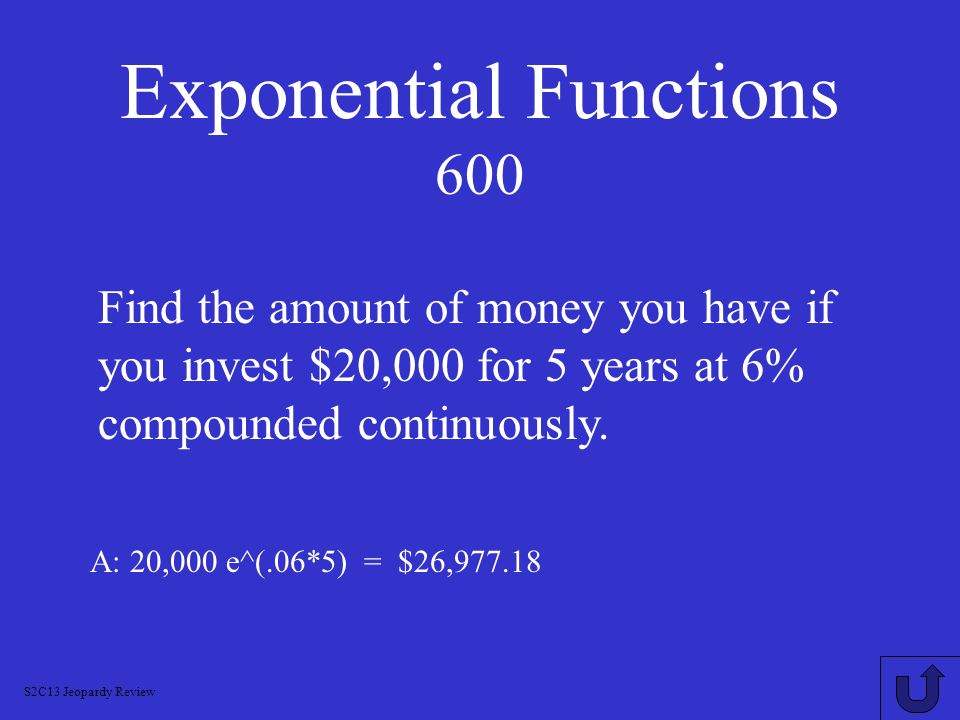 Exponential Functions 600