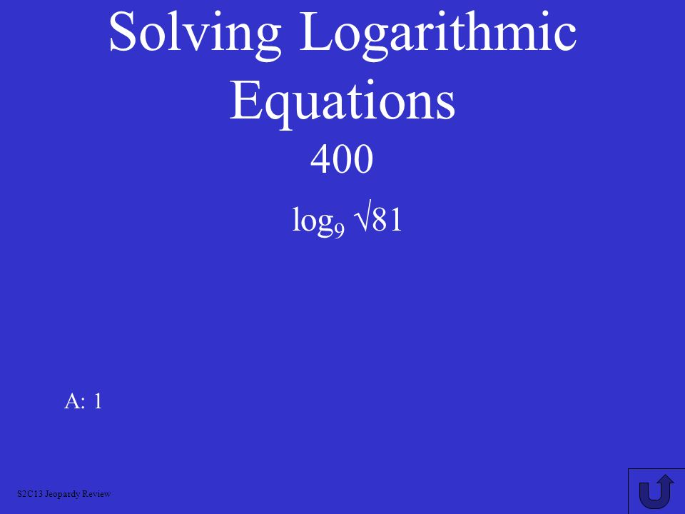 Solving Logarithmic Equations 400