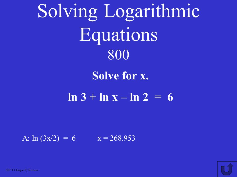 Solving Logarithmic Equations 800
