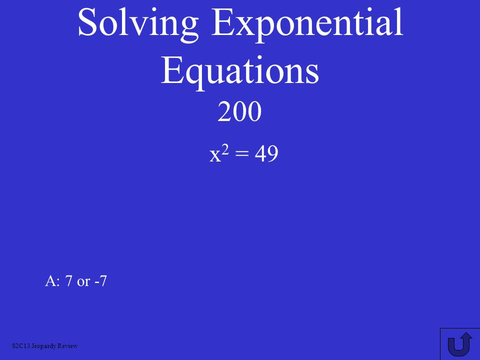Solving Exponential Equations 200