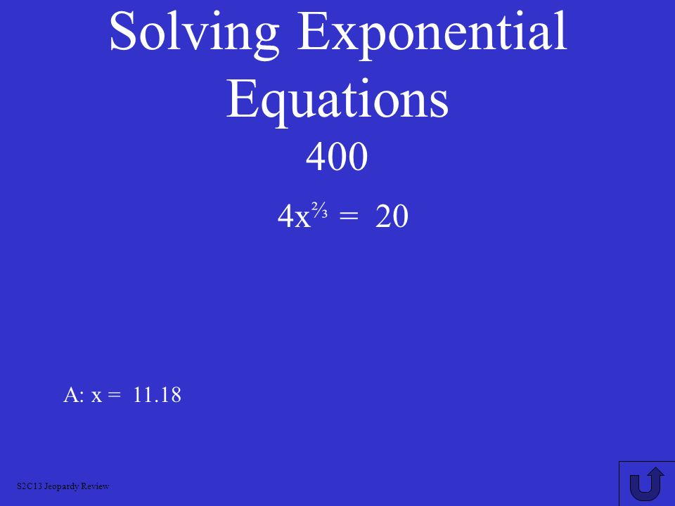 Solving Exponential Equations 400