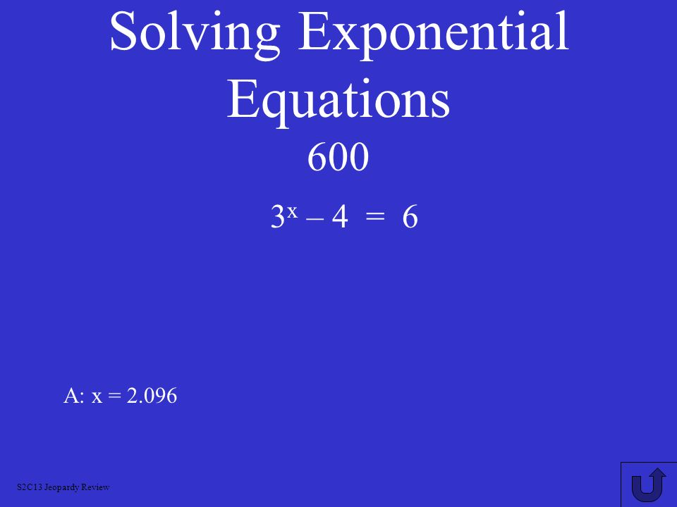 Solving Exponential Equations 600