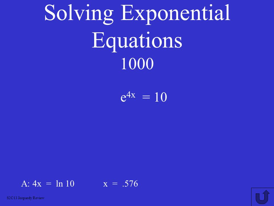 Solving Exponential Equations 1000