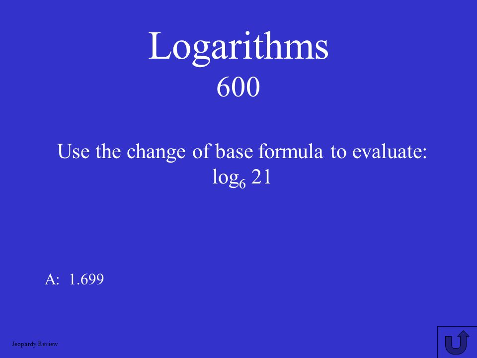 Use the change of base formula to evaluate: log6 21