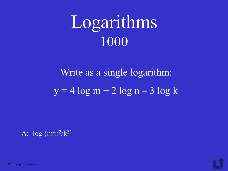 Write as a single logarithm: