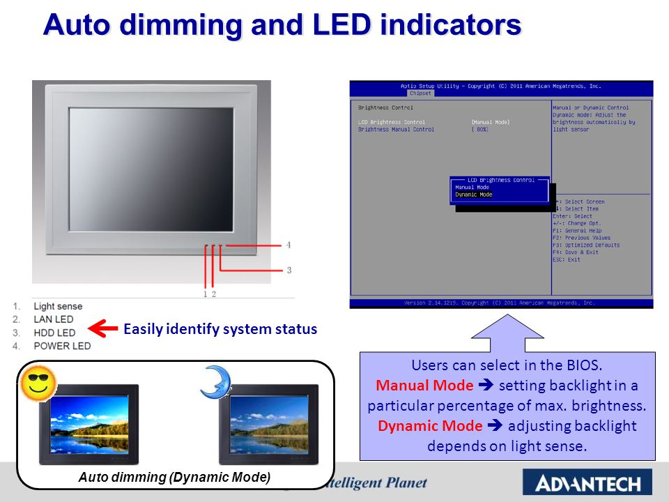 Auto dimming and LED indicators