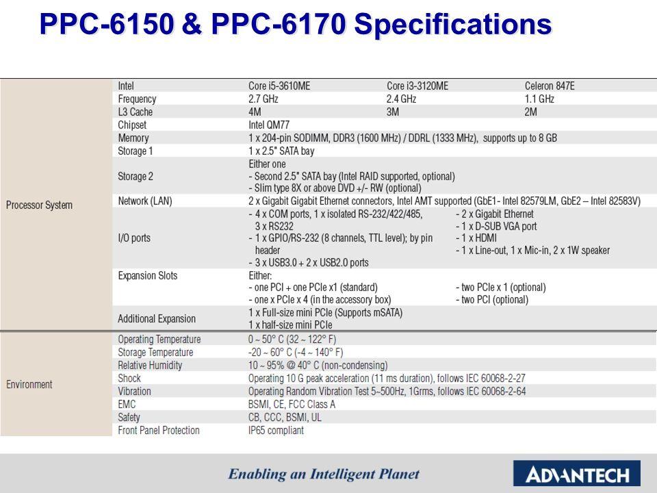 PPC-6150 & PPC-6170 Specifications
