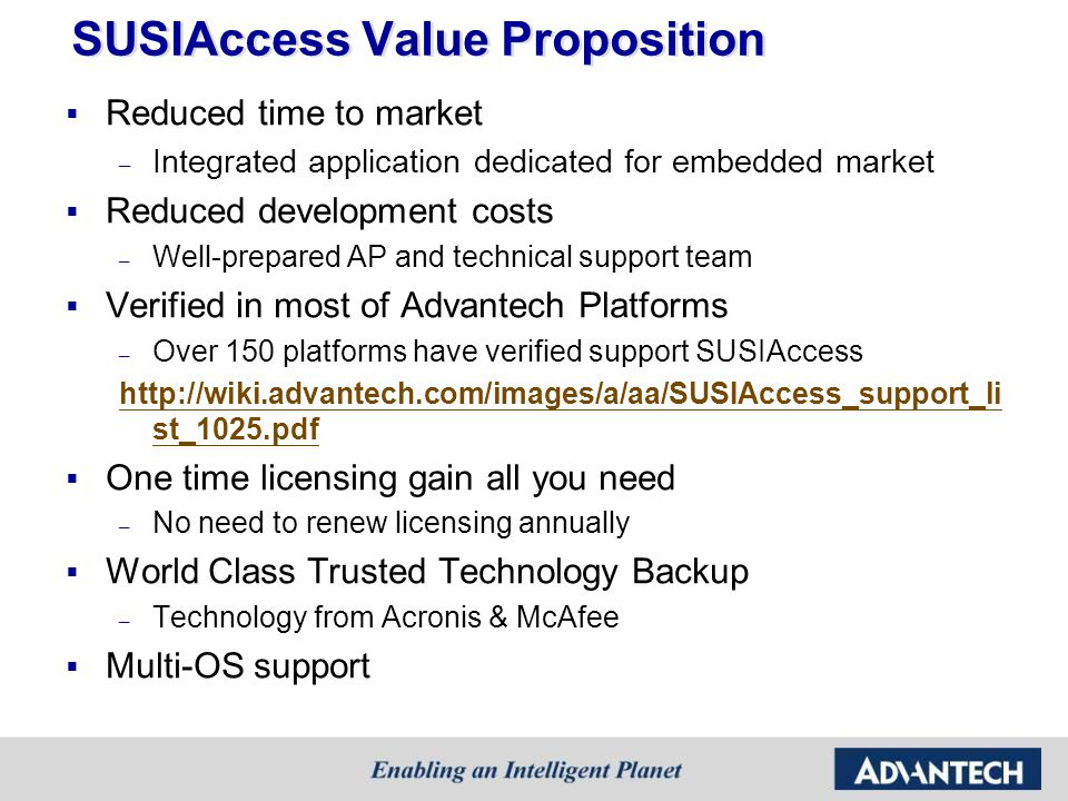 SUSIAccess Value Proposition