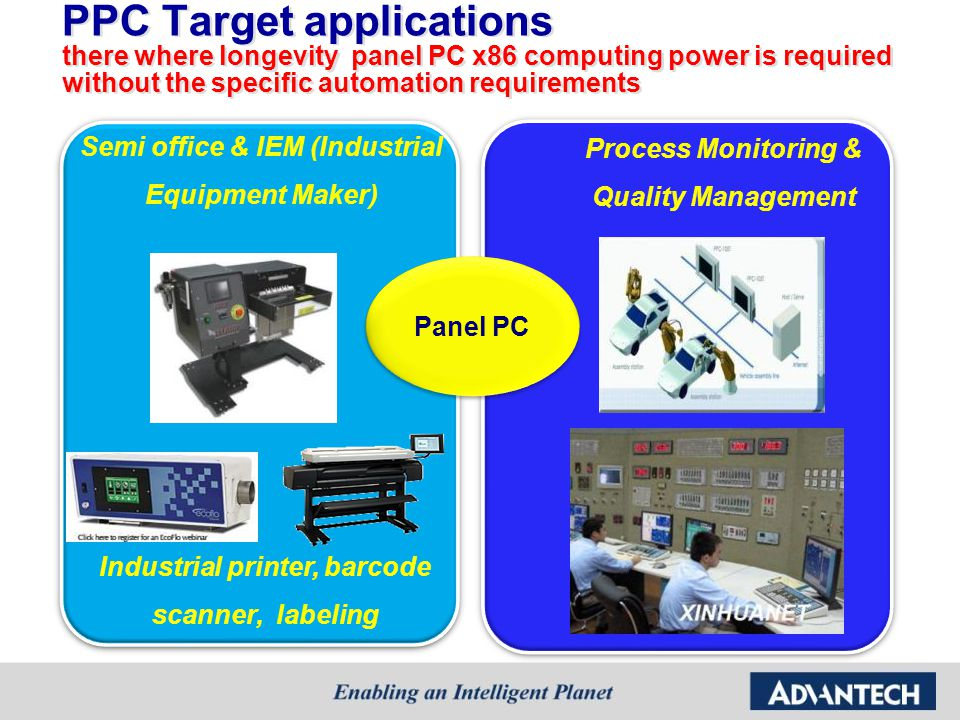 PPC Target applications there where longevity panel PC x86 computing power is required without the specific automation requirements