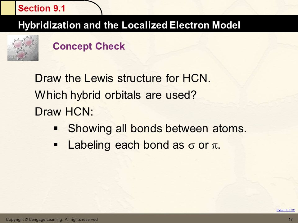 Draw the Lewis structure for HCN. Which hybrid orbitals are used