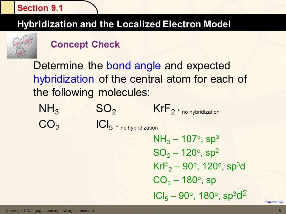 NH3 SO2 KrF2 * no hybridization CO2 ICl5 * no hybridization