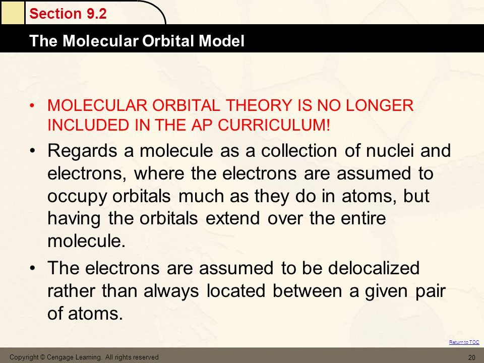 MOLECULAR ORBITAL THEORY IS NO LONGER INCLUDED IN THE AP CURRICULUM!