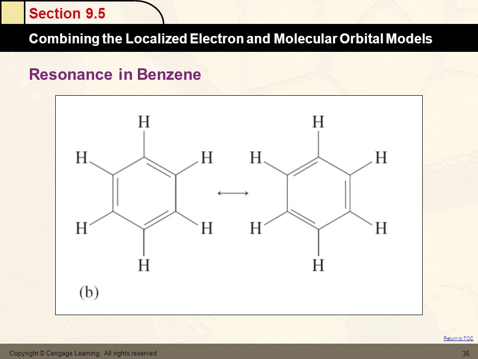 Resonance in Benzene Copyright © Cengage Learning. All rights reserved