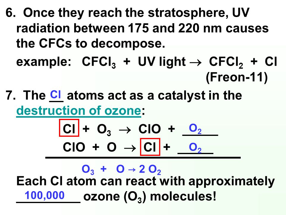 example: CFCl3 + UV light  CFCl2 + Cl (Freon-11)
