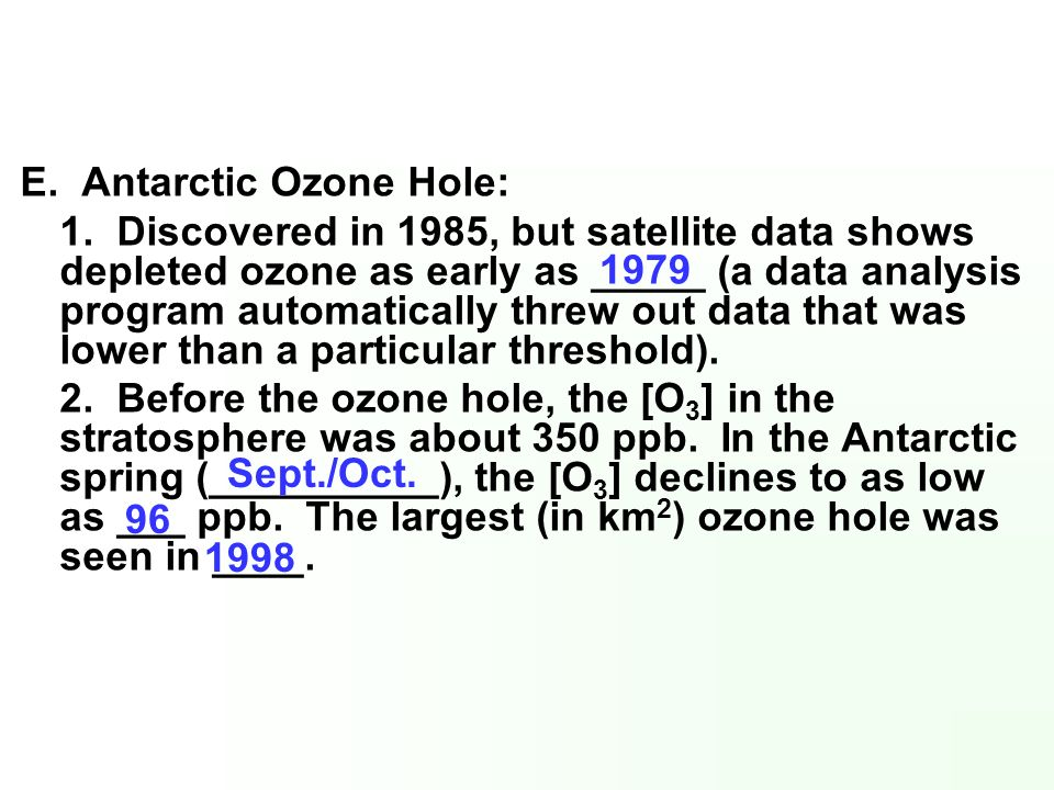 E. Antarctic Ozone Hole: