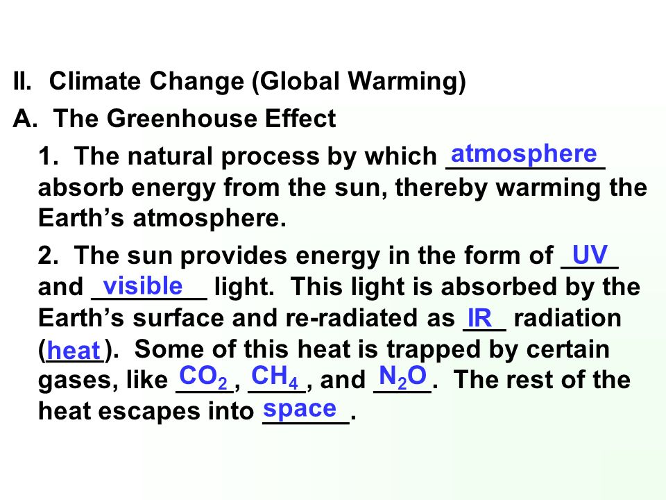II. Climate Change (Global Warming)