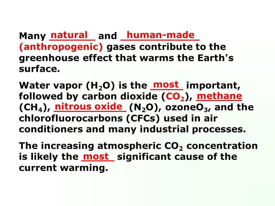 Many _______ and ____________ (anthropogenic) gases contribute to the greenhouse effect that warms the Earth s surface.