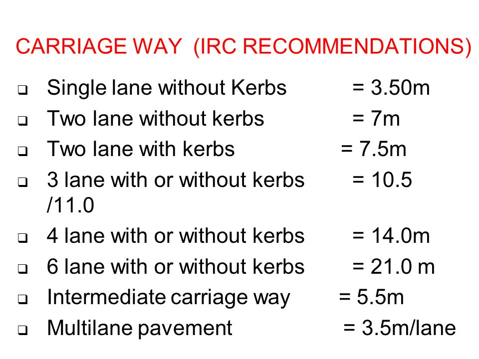 CARRIAGE WAY (IRC RECOMMENDATIONS)