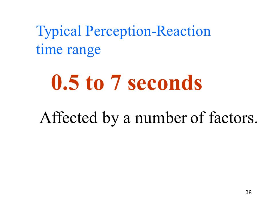 0.5 to 7 seconds Affected by a number of factors.