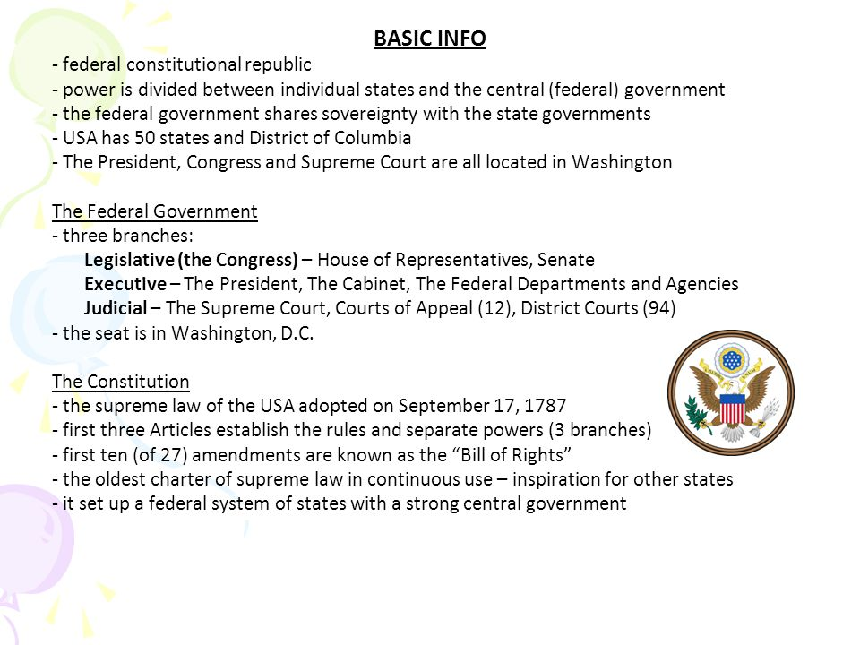 BASIC INFO - federal constitutional republic