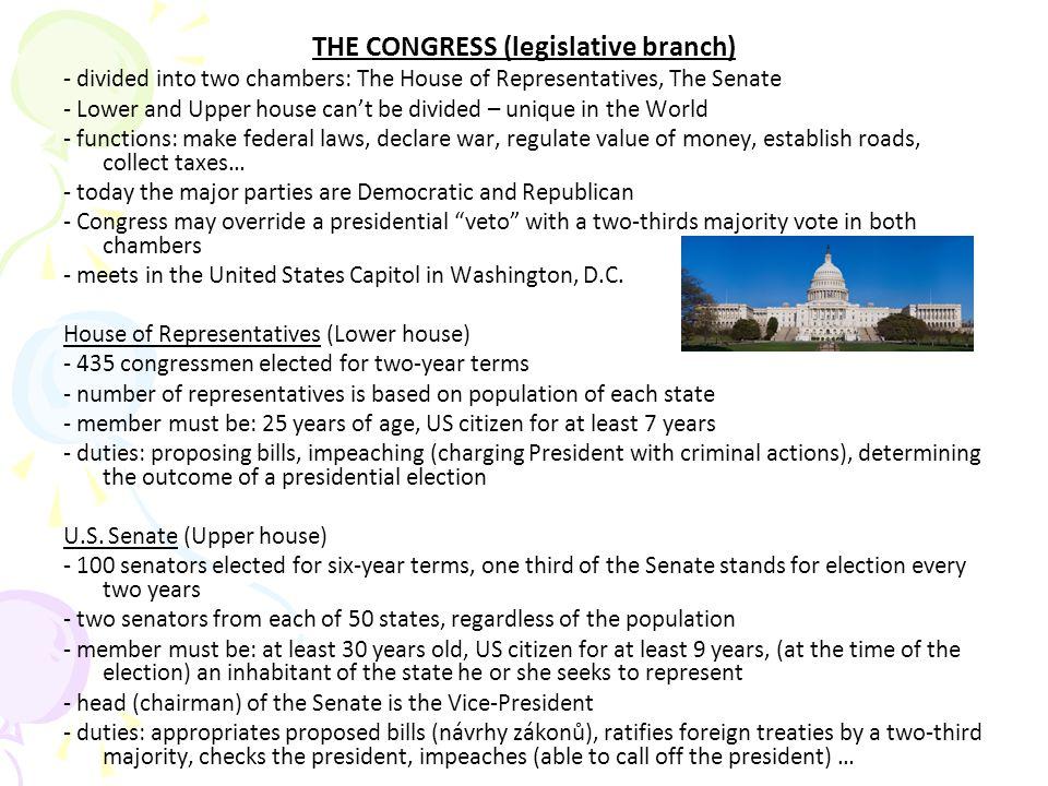 THE CONGRESS (legislative branch)