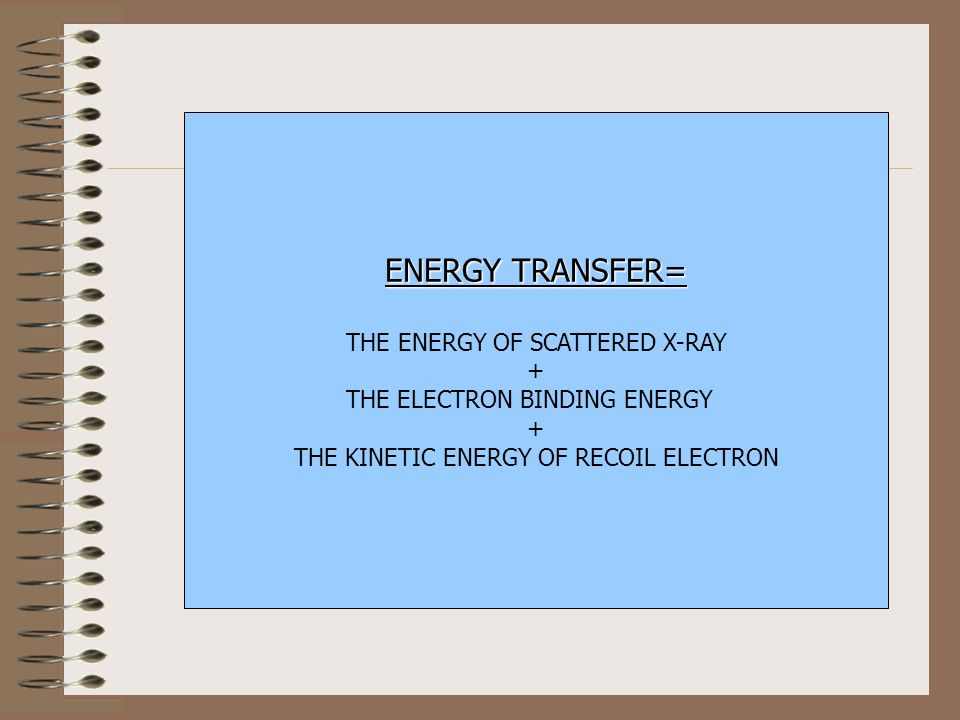 ENERGY TRANSFER= THE ENERGY OF SCATTERED X-RAY +