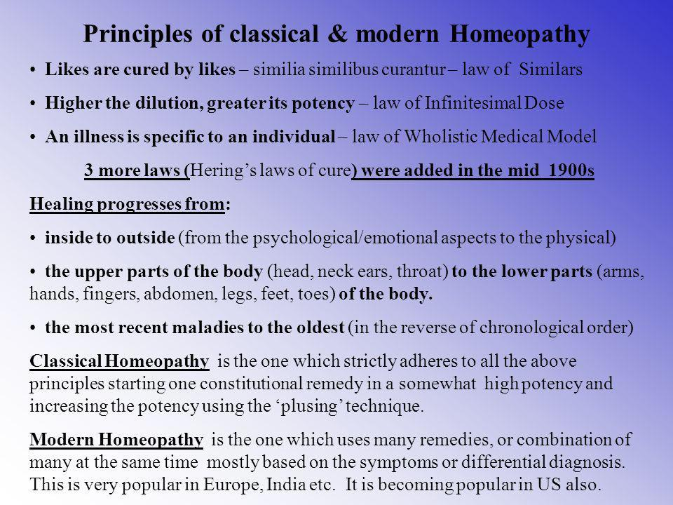 Principles of classical & modern Homeopathy