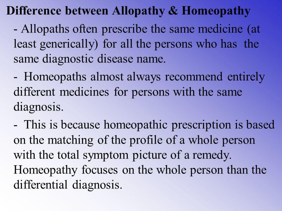 Difference between Allopathy & Homeopathy